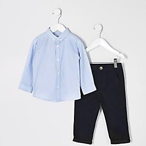 Mini - Outfit met blauw overhemd enchinobroek voor jongens