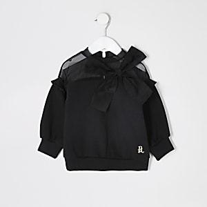 Mini - Zwarte sweater met organza strik voor meisjes