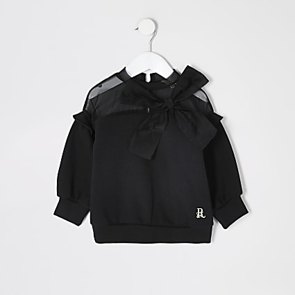Mini girls black organza bow sweatshirt