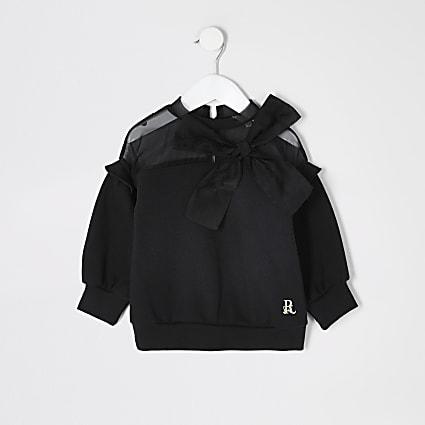Mini girls black organza bow sweatshirt