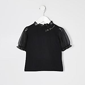 T-shirt noir avec manches bouffantes en organzaMini fille