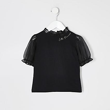 Mini girls black organza puff sleeve T-shirt