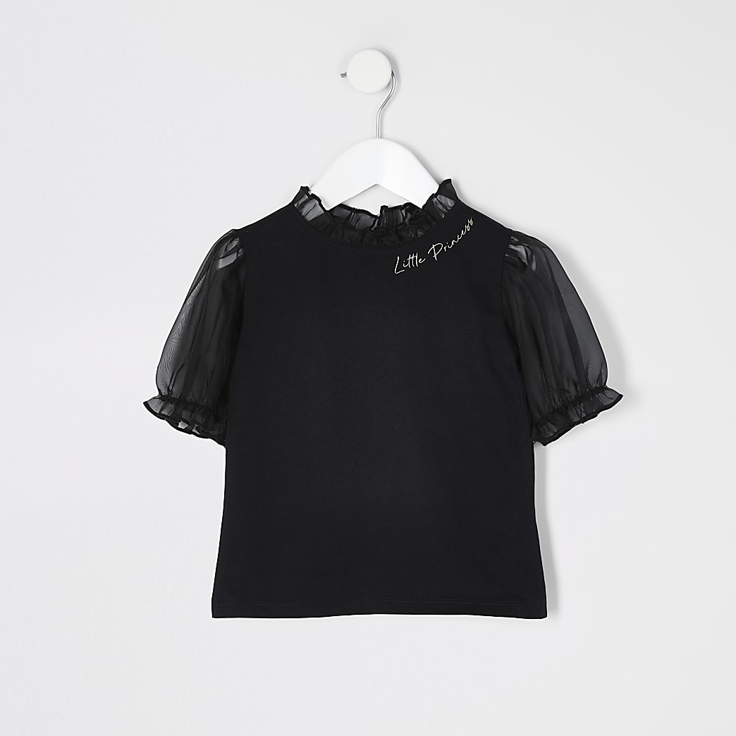 Mini girls black organza puff sleeve T-shirt