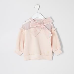 Mini – Pinkes Sweatshirt mit Organza-Schleife für Mädchen