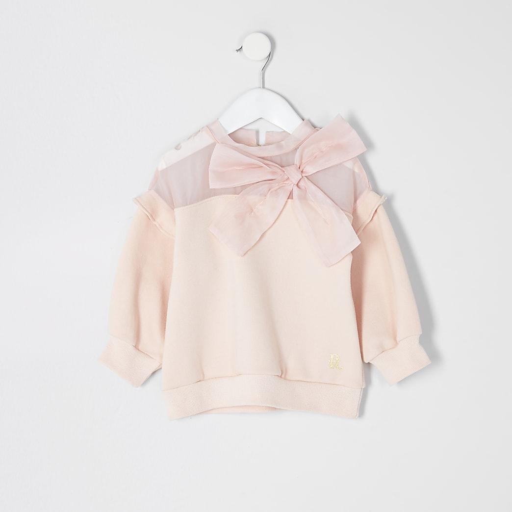 Mini - Roze sweater met organza strik voor meisjes