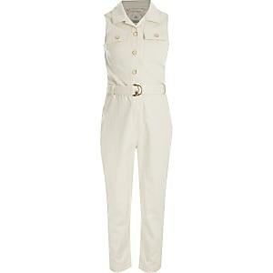 Crèmekleurige mouwloze jumpsuit met ceintuur voor meisjes