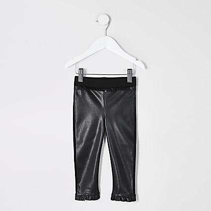 Mini girls faux leather frill leggings