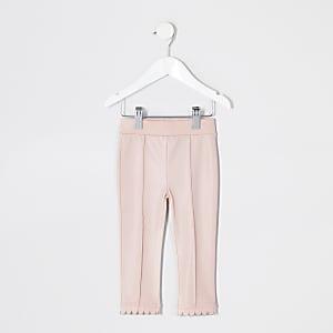 Mini -Roze imitatieleren leggings voor meisjes