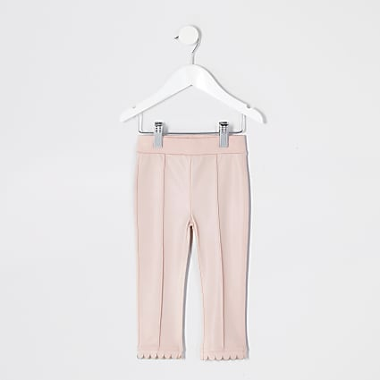 Mini girls pink faux leather leggings