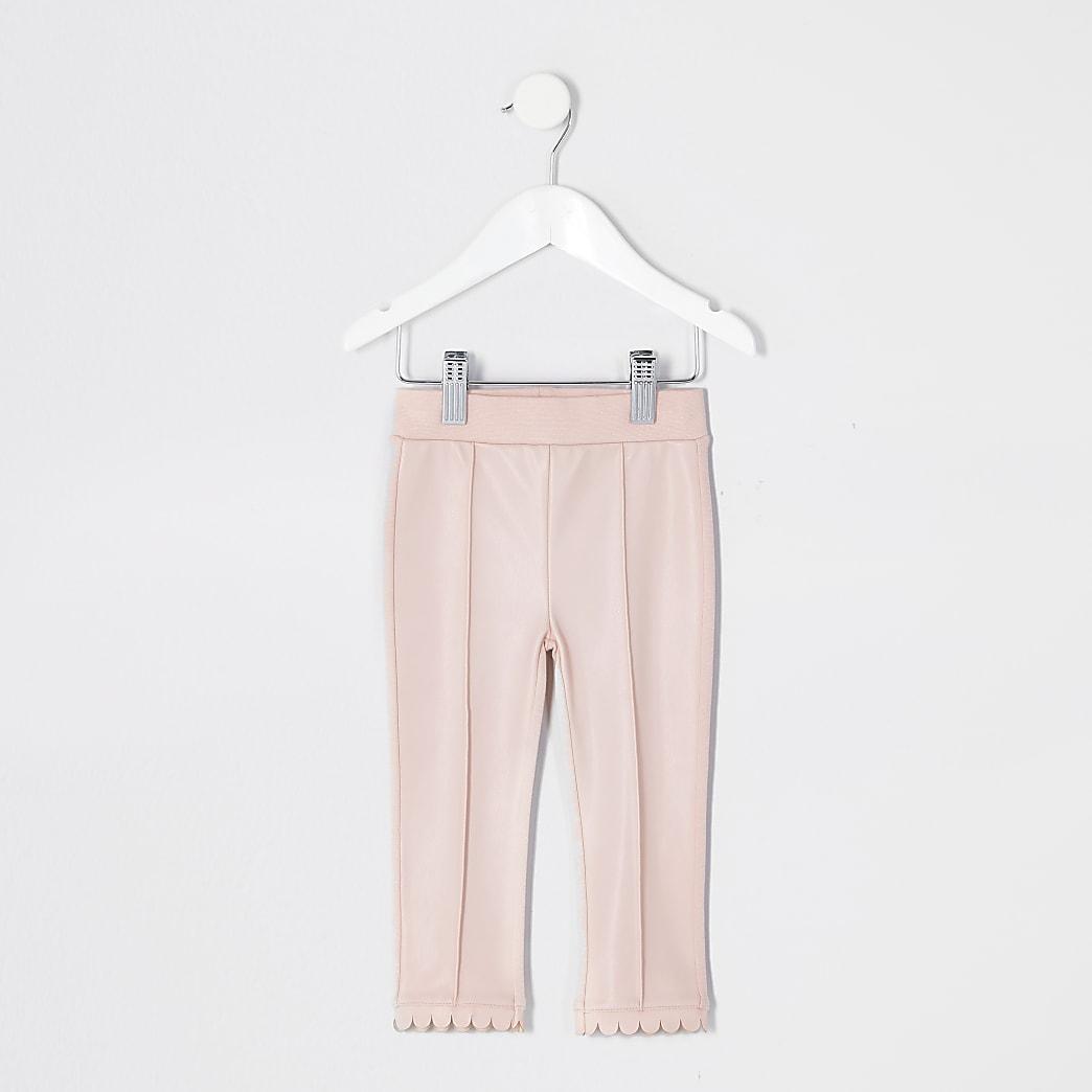 Mini girls pink faux leather leggings