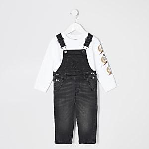 Mini - Zwarte denim dungaree outfit met RI-letters voor jongens