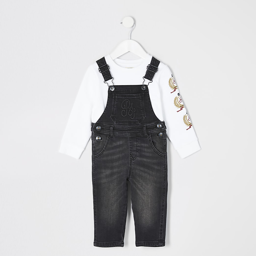 Mini boys black RI denim dungaree outfit