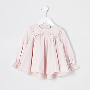 Mini - Lichtroze blouse met ruches aan de kraag voor meisjes