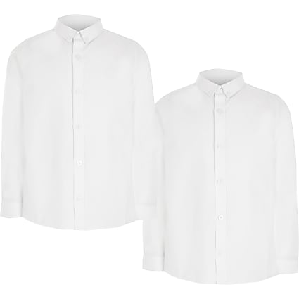 Boys white long sleeve twill shirt 2 pack