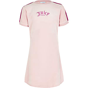 Juicy Couture – T-Shirt-Kleid aus Samt in Rosa