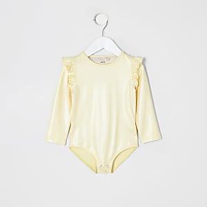 Mini girls yellow long sleeve frill bodysuit