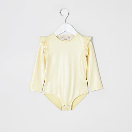 Mini girls yellow long sleeve frill bodysuit
