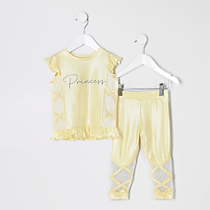 RI Active – Ensemble avec t-shirt jaune Mini fille
