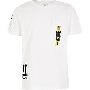 Prolific – T-shirt blanc à poche utilitaire pour garçon