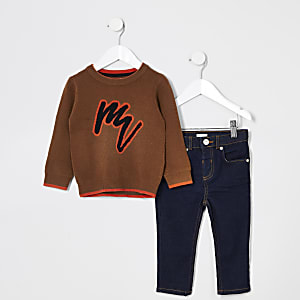 Maison Riviera -  Bruine outfit met pullover voor mini-jongens