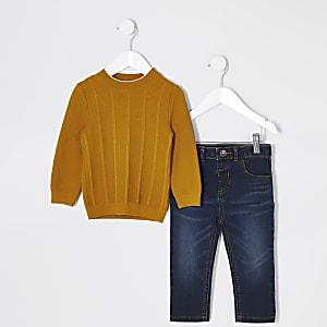 Mini – Outfit mit gelbem Strickpullover für Jungen