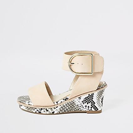 Girls pink snake printed wedge sandals