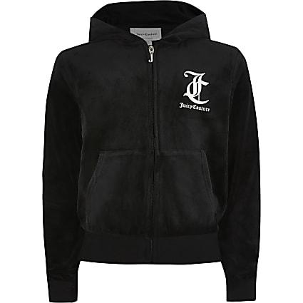 Girls Juicy Couture black velour zip hoodie