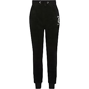 Juicy Couture – Pantalon de jogging en velours noir pour fille