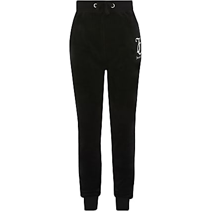 Girls Juicy Couture black velour jogger