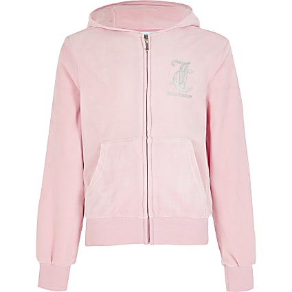 Girls Juicy Couture pink velour zip hoodie