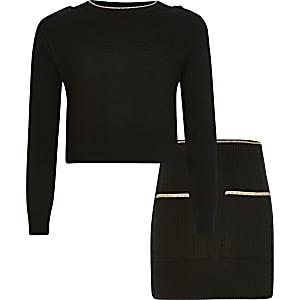 Schwarzes Pullover-Outfit aus Rippstrick für Mädchen