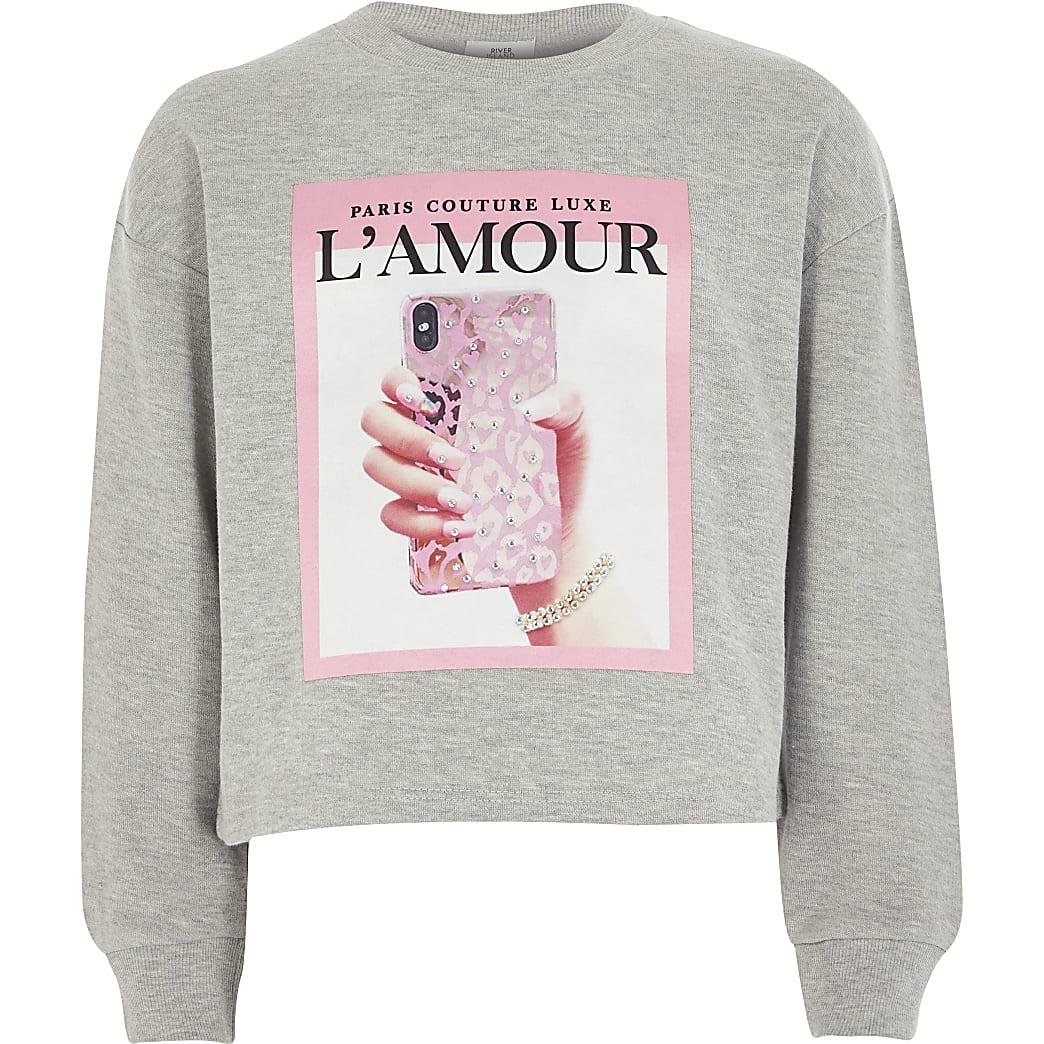 Grijze sweater met telefoonprint voor meisjes