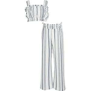 Blau gestreiftes Crop-Top-Outfit für Mädchen