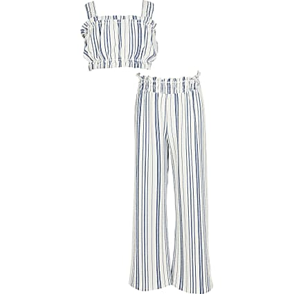 Girls blue stripe cropped top outfit