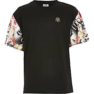 Schwarzes T-Shirt mit bedrucktem Ärmel für Mädchen