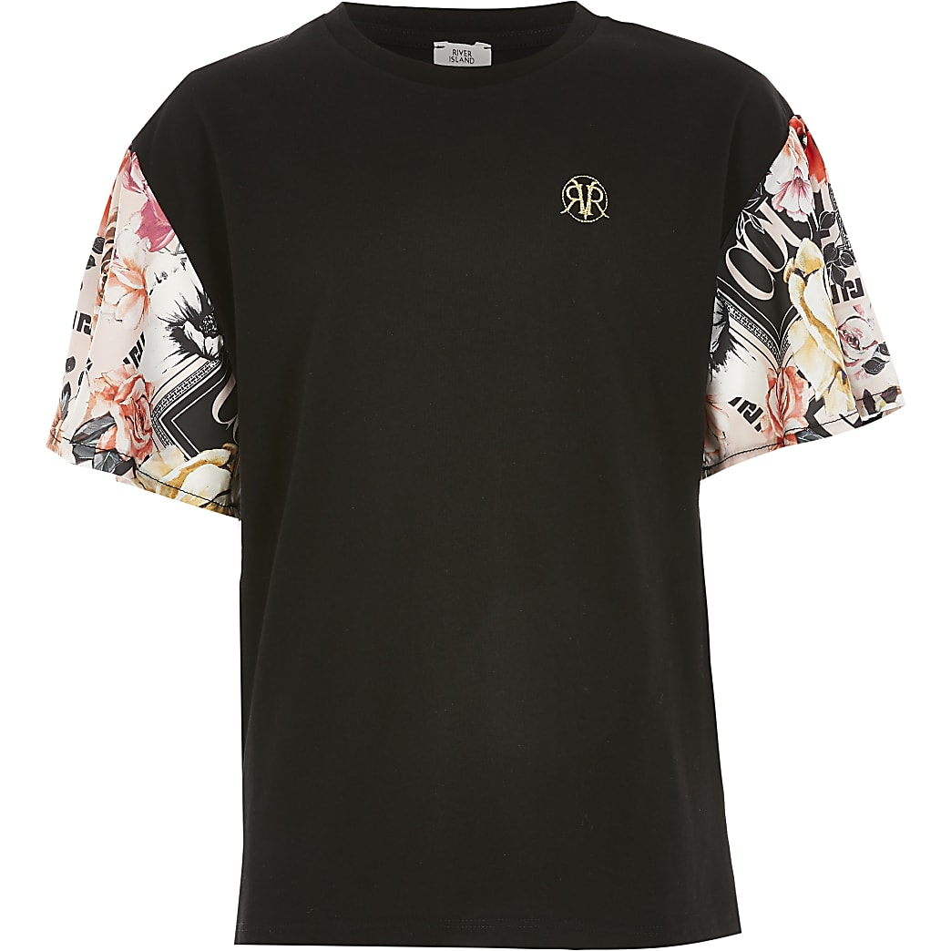 Girls black printed sleeve T-shirt