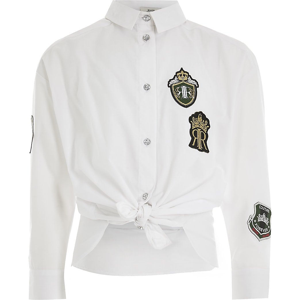 Girls white badge embellished tie front shirt