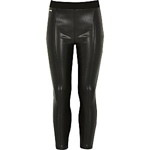Leggings noirs en cuir synthétique pour fille