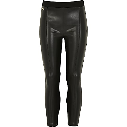 Girls black faux leather leggings