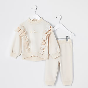 Ensemble à sweat crème à volants mini fille