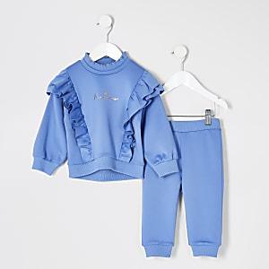 Mini – Blaues Sweatshirt-Outfit aus Scuba mit Rüschen für Mädchen