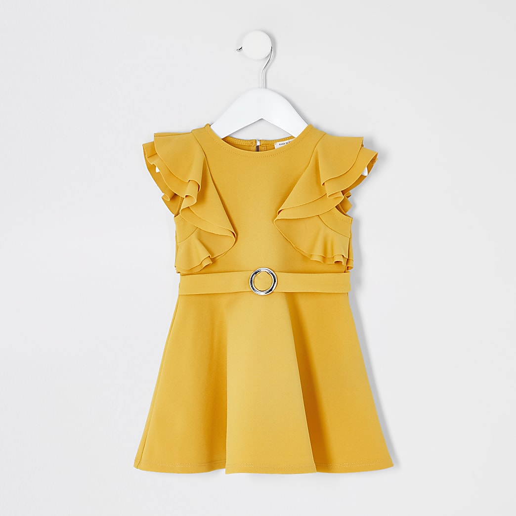 Mini girls yellow ruffle belted skater dress