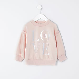 Mini girls pink 'Love' frill sweatshirt