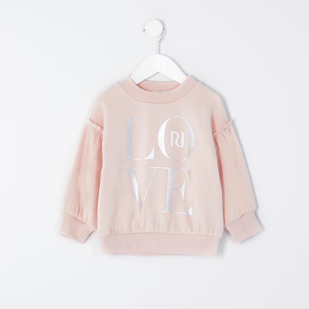 Mini - Roze sweater met 'Love'-tekst en ruche voor meisjes