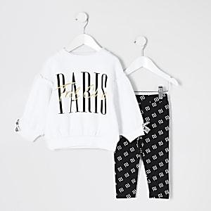 Mini - Witte sweater outfit met 'Paris'-tekst voor meisjes