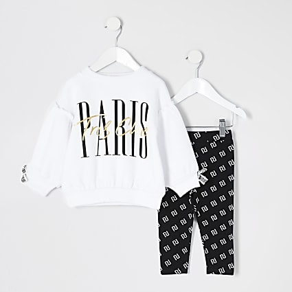 Mini girls white 'Paris' sweatshirt outfit