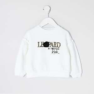 Mini - Crèmekleurige sweater met print en pompon voor meisjes
