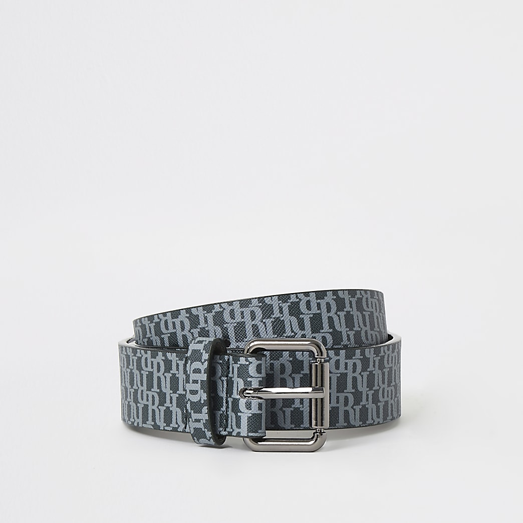 Boys black RI monogram buckle belt