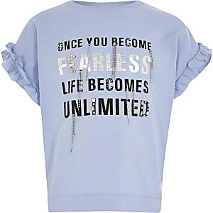 Gerüschtes T-Shirt in Blau mit Print und Strass für Mädchen