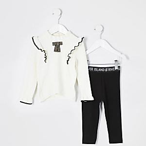 Mini – Mädchen-Outfit mit gerüschtem Pullover mit Schleife in Creme